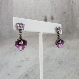 Purple AB Crystal Flower Dangle Earrings Posts